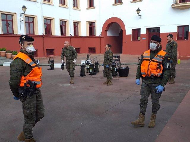 Militares de la Brigada Extremadura XI en tareas contra el coronavirus