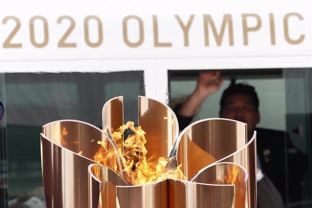 Llama olímpica en Japón