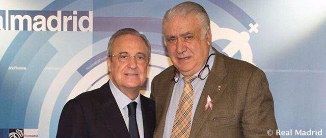 El presidente del Real Madrid, Florentino Pérez, y el expresidente Lorenzo Sanz
