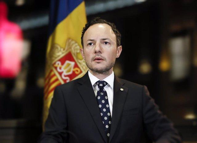 El jefe de Gobierno de Andorra, Xavier Espot, durante la alocución sobre el coronavirus pronunciada el sábado 22 de marzo de 2020