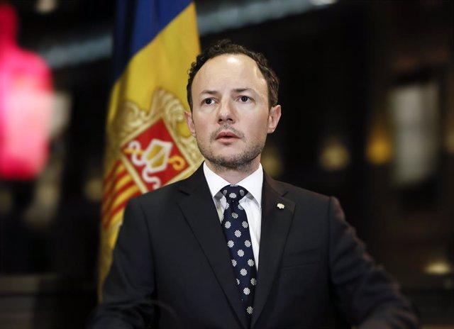 El cap de Govern d'Andorra, Xavier Espot, durant l'al·locució sobre el coronavirus pronunciada el dissabte 22 de març de 2020