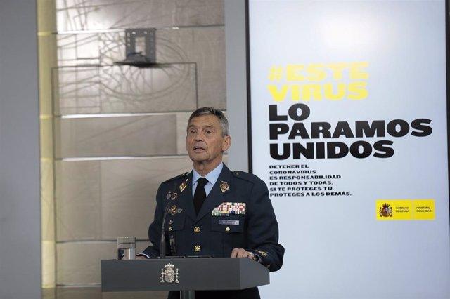 El jefe del Estado Mayor de la Defensa, Miguel Ángel Villarroya, interviene en la comparecencia del 19 de marzo de 2020.