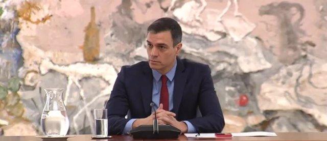 El presidente del Gobierno, Pedro Sánchez, preside en Moncloa el Comité de Gestión Técnico del Coronavirus la semana pasada