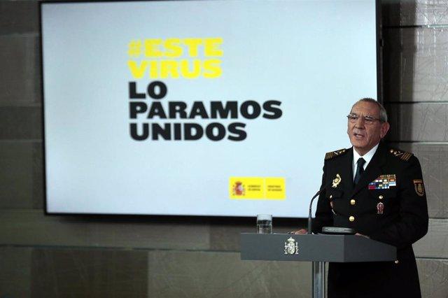 El director adjunto operativo (DAO) de la Policía, José Ángel González, interviene en la comparecencia para informar sobre los datos actualizados del coronavirus donde han indicado que desde el último comunicado, se ha sufrido un incremento del 25% en el
