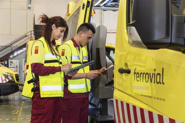 Trabajadores del servicio de ambulancias de Ferrovial