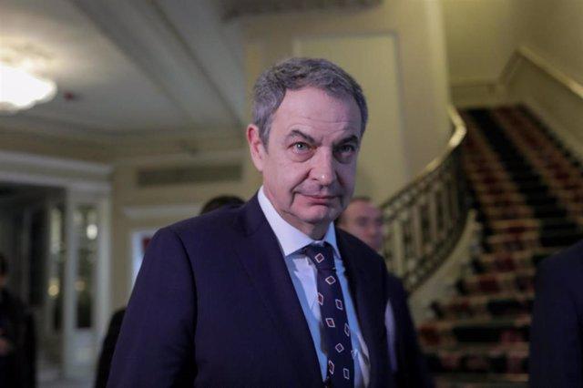 El expresidente del Gobierno José Luis Rodríguez Zapatero a su llegada al desayuno informativo organizado por Nueva Economía Forum en el Hotel Westin Palace, Madrid (España), a 9 de marzo de 2020.