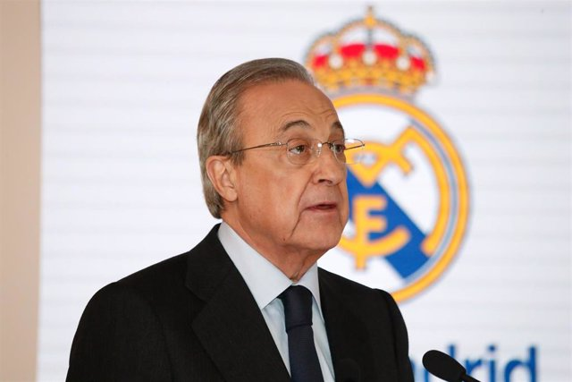El presidente del Real Madrid, Florentino Pérez, durante un acto