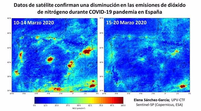 Coronavirus.- Las grandes ciudades españolas reducen un 64% las concentraciones de dióxido de nitrógeno en el aire