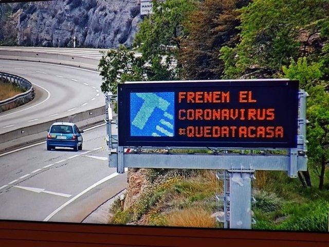 Imatge de recurs de la campanya del Servei Català de Trànsit (SCT) durant la pandèmia del coronavirus