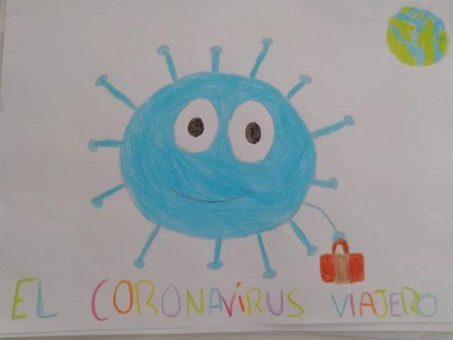 Imagen de uno de los dibujos que ilustra el videocuento 'La historia del coronavirus viajero'