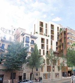 """L'edifici d'habitatge públic en l'avinguda Vallcarca de Barcelona, que tindrà 14 pisos de """"lloguer assequible""""."""