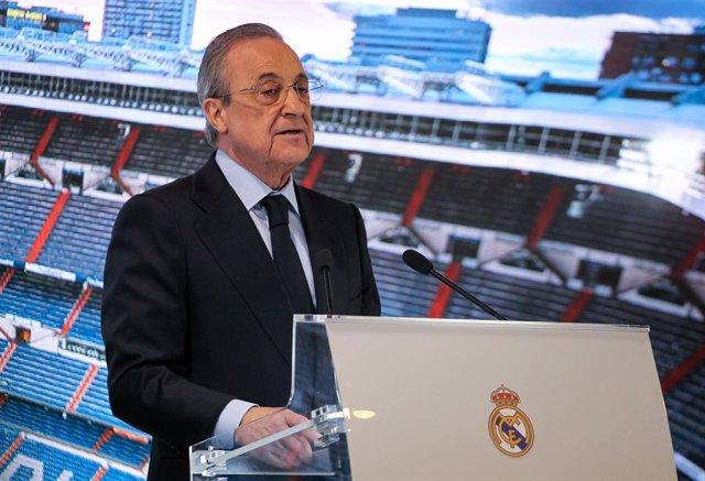 Florentino Perez, president del Reial Madrid, al Santiago Bernabéu, Madrid (Espanya), 18 de febrer del 2020.