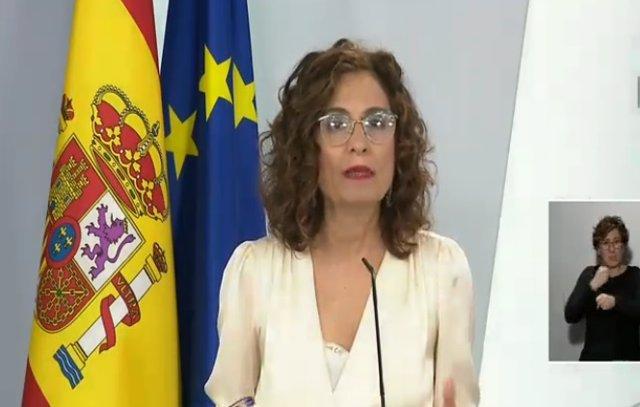 Roda de premsa de la portaveu del Govern central, María Jesús Montero, després del Consell de Ministres
