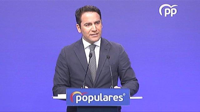 El secretario general del PP, Teodoro García Egea, en rueda de prensa en la sede del PP.