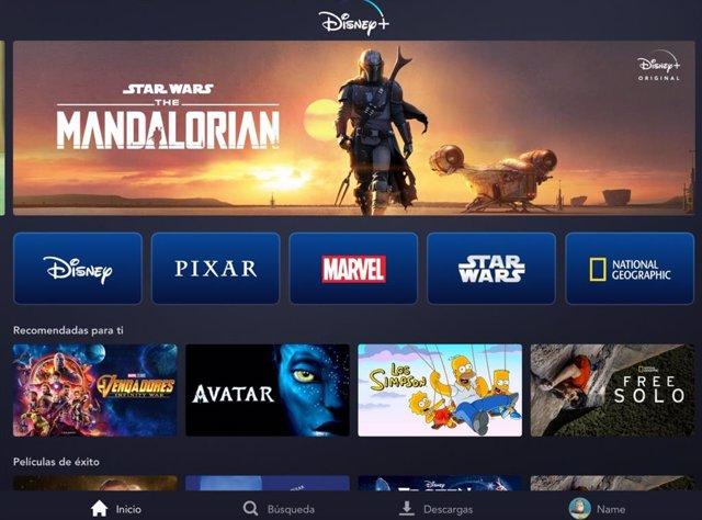 La interfície de Disney +