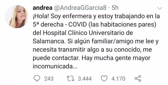 Publicación en Twitter de la enfermera @AndreaGGarcia8