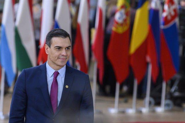 Pedro Sánchez a en Bruselas en una forot de archivo