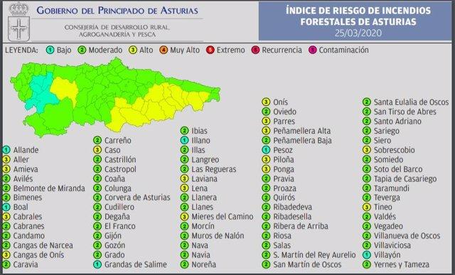 Mapa con el índice de riesgo forestal en Asturias para este miércoles 25 de marzo.