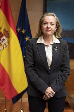 La vicepresidenta tercera y ministra de Asuntos Económicos y Transformación Digital, Nadia Calviño.