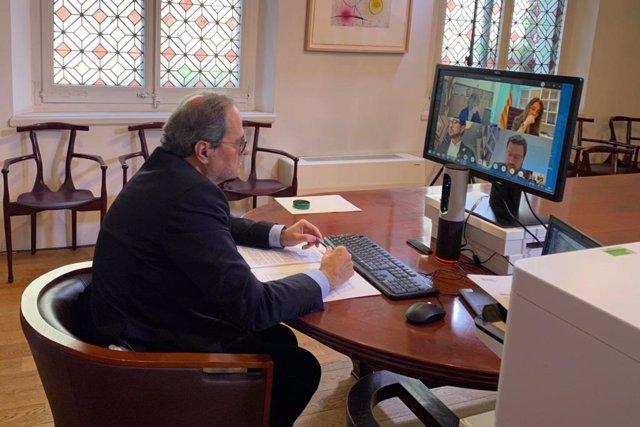 El presidente de la Generalitat, Quim Torra, preside la reunión semanal del Consell Executiu, que se ha realizado por videoconferencia