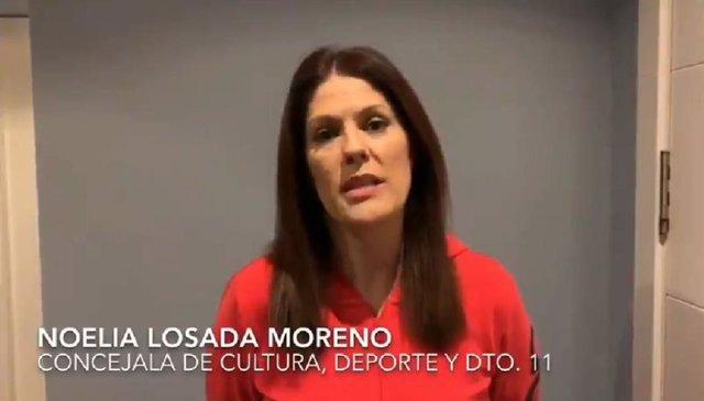 La concejala de Deporte y Cultura del Ayuntamiento de Málaga en un vídeo para informar sobre medidas durante el estado de alarma por coronavirus