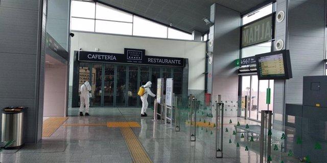 La UME desinfecta la estación de tren de Granada