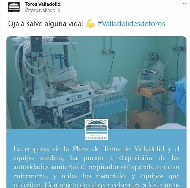 Tuit de la Plaza de Toros de Valladolid.