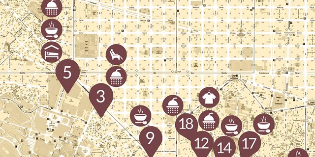 Mapa de recursos activos en Barcelona durante la pandemia de coronavirus