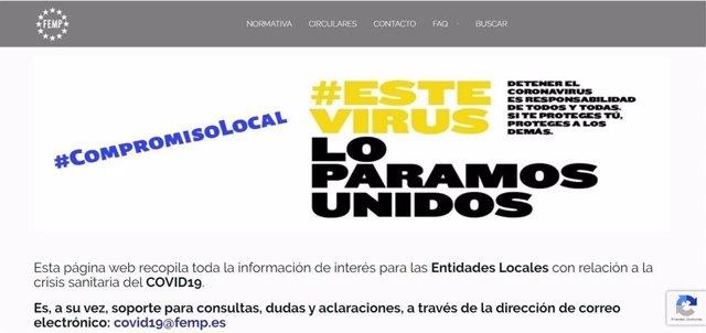 Página web covid19.Femp.Es habilitada por la FEMP para informar a los Ayuntamientos sobre el coronavirus.