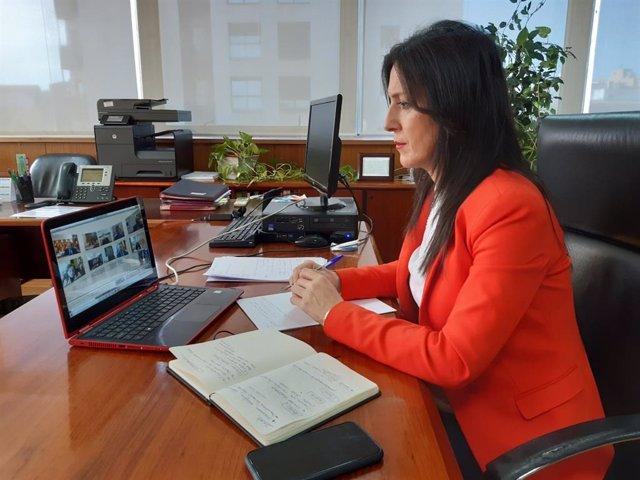 Esther Gutiérrez, durante la videoconferencia de la sectorial de Educación.