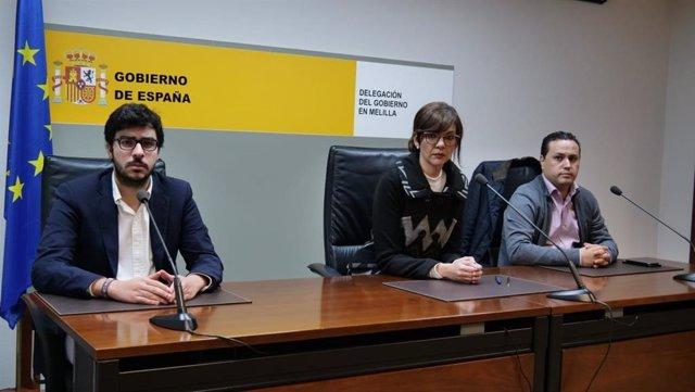 La delegada del Gobierno en Melilla, Sabrina Moh; el consejero de Salud Pública, Mohamed Mohand, y el director de Sanidad Omar El Houari