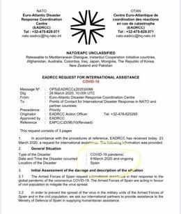 Carta del Gobierno a la OTAN  solicitando ayuda y donde sitúa el inicio del coronavirus el 9 de marzo.