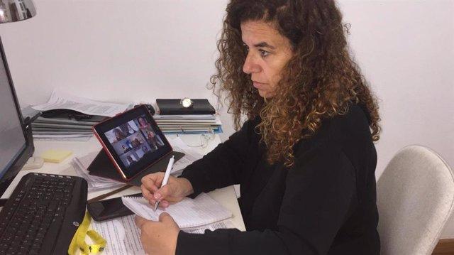 La consellera de Presidencia, Cultura e Igualdad, Pilar Costa, durante la reunión.