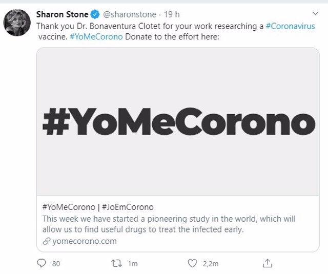 Tuit de Sharon Stone en referencia a la campaña #YoMeCorono