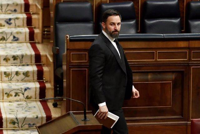 El presidente de Vox, Santiago Abascal, durante el pleno celebrado este miércoles en el Congreso de los Diputados en Madrid