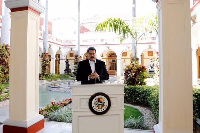 El presidente de Venezuela, Nicolás Maduro, durante una comparecencia celebrada en el Palacio de Miraflores de Caracas.