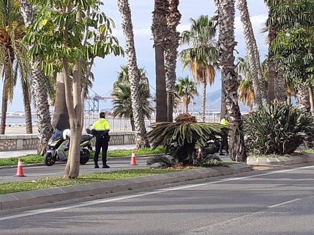 Agentes de la Policía Local de Málaga durante los controles en el estado de alarma por el coronavirus