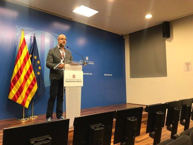 El conseller d'Interior, Miquel Buch, en la roda de premsa telemàtica