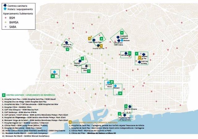 Las zonas de aparcamiento habilitadas para el personal sanitario de centros médicos de Barcelona