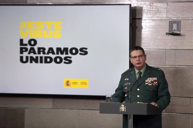 El teniente general, Laurentino Ceña, interviene en la comparecencia en Moncloa