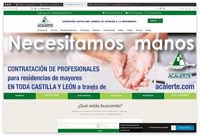 Portada de la web de Acalerte en la que se pide personal para trabajar en el sector.