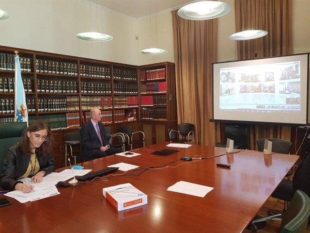 La conselleira de Educación, Universidade e FP, Carmen Pomar, en la reunión telemática con la ministra Celaá y las CCAA