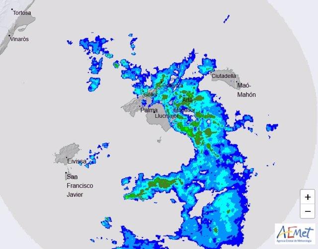 Imagen del radar de la Aemet sobre Baleares.