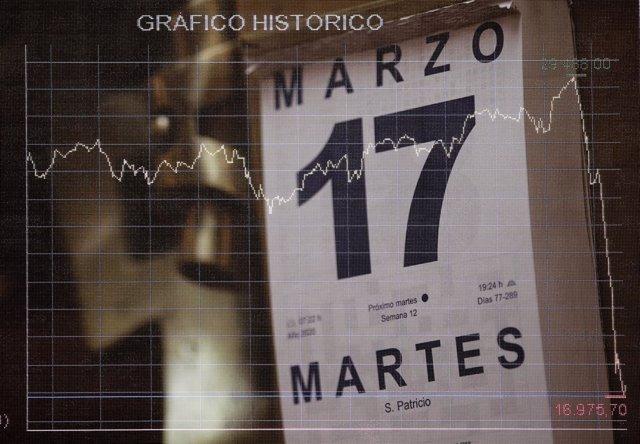 L'Ibex 35 rebota a l'inici de la sessió del segon dia laborable de l'estat d'alarma després d'un dilluns negre, a Madrid (Espanya) a 17 de març de 2020.