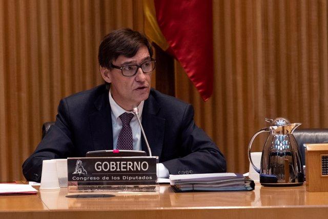 El ministro de Sanidad, Salvador Illa, durante su comparecencia en la Comisión de Sanidad del Congreso de los Diputados.
