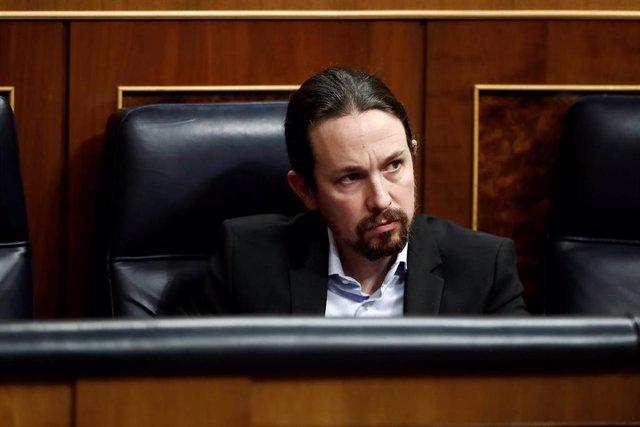 El vicepresidente de Derechos Sociales del Gobierno y líder de Podemos, Pablo Iglesias, en el Congreso