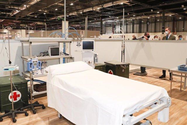 Una de las camas del hospital de campaña habilitado en Feria de Madrid IFEMA para atender a enfermos de coronavirus.
