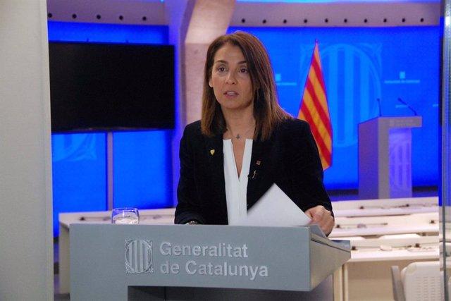 La consellera de Presidència i portaveu del Govern, Meritxell Budó, en roda de premsa telemàtica