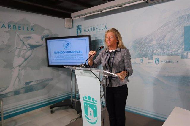 La alcaldesa de Marbella, Ángeles Muñoz, en una comparecencia