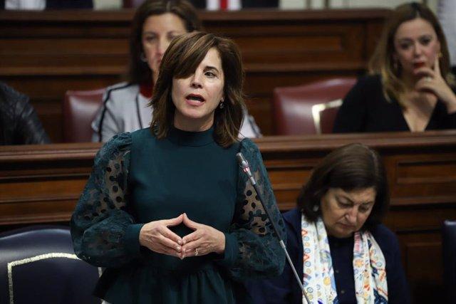 La consejera de Sanidad del Gobierno de Canarias, Teresa Cruz, en sesión plenaria